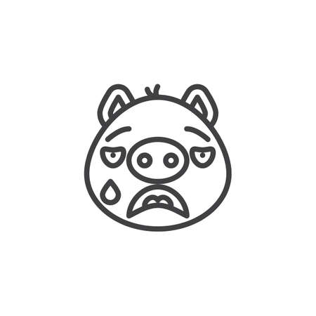 Crying piggy face emoticon line icon. linear style sign for mobile concept and web design. Cry face emoji outline vector icon. Pig year zodiac symbol, logo illustration. Pixel perfect vector graphics