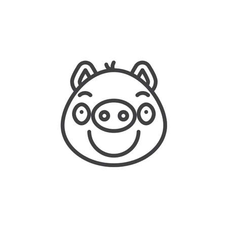 Piggy smug face emoticon line icon. linear style sign for mobile concept and web design. Sassy piggy face emoji outline vector icon. Pig year zodiac symbol, logo illustration. Pixel perfect vector Illustration