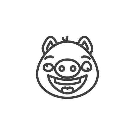 Piggy confused face emoticon line icon. linear style sign for mobile concept and web design. Crazy face emoji outline vector icon. Pig year zodiac symbol, logo illustration. Pixel perfect vector