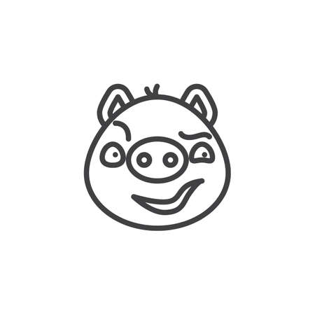 Piggy sly face emoticon line icon. linear style sign for mobile concept and web design. Sassy face emoji outline vector icon. Pig year zodiac symbol, logo illustration. Pixel perfect vector graphics Illustration