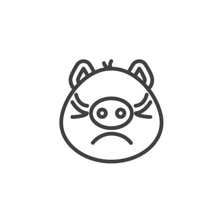 Piggy displeased face emoji line icon. linear style sign for mobile concept and web design. Annoyed face emoticon outline vector icon. Pig year zodiac symbol, logo illustration. Pixel perfect vector
