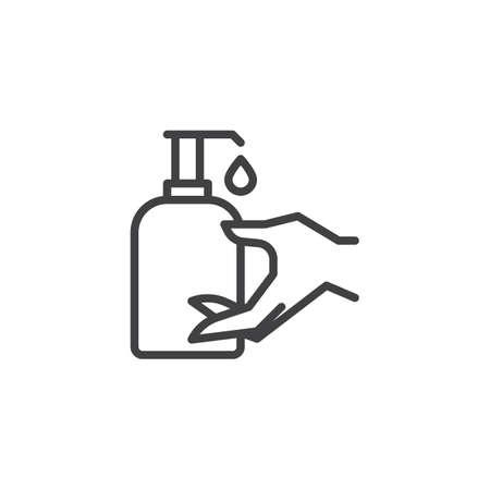 Ikona linii butelki odkażacza do rąk. liniowy znak stylu dla koncepcji mobilnej i projektowania stron internetowych. Dezynfekcja ręka zarys wektor ikona. Symbol opieki zdrowotnej, ilustracja logo. Doskonała grafika wektorowa w pikselach