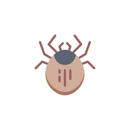Milbenschädlingsflachsymbol, Vektorzeichen, buntes Piktogramm lokalisiert auf Weiß. Staubmilben-Insektensymbol, Logoillustration. Flaches Design Logo