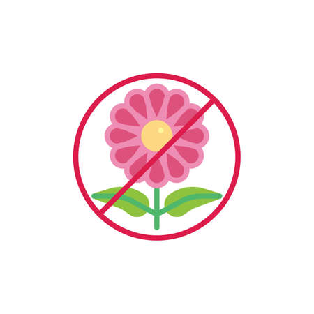 Stop flower allergy flat icon, vector sign, colorful pictogram isolated on white. No Flower, prohibition sign symbol, logo illustration. Flat style design