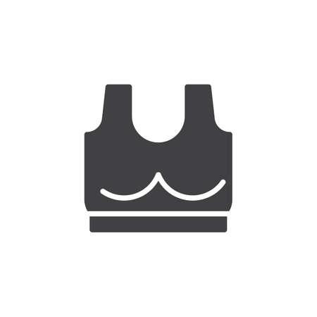 Icono de vector de sujetador deportivo. signo plano lleno para concepto móvil y diseño web. Icono de glifo simple de sujetador de fitness de mujer. Símbolo, ilustración de logotipo. Gráficos vectoriales perfectos para píxeles