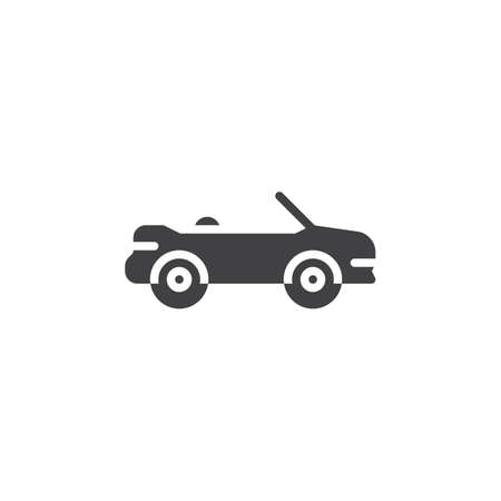 Cabriolet car vector icon. filled flat sign for mobile concept and web design. Convertible car simple glyph icon. Symbol, logo illustration. Pixel perfect vector graphics Vettoriali