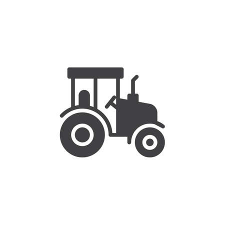 Agricultural tractor vector icon. filled flat sign for mobile concept and web design. Tractor side view simple glyph icon. Symbol, logo illustration. Pixel perfect vector graphics