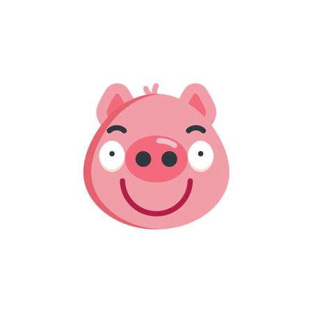 Sassy piggy face emoji flat icon, vector sign, colorful pictogram isolated on white. Piggy smug face emoticon symbol, logo illustration. Flat style design Illustration