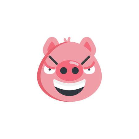 Mocked face emoticon flat icon, vector sign, colorful pictogram isolated on white. Sarcastic piggy face emoji symbol, logo illustration. Flat style design 일러스트