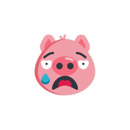 Crying piggy face emoticon flat icon, vector sign, colorful pictogram isolated on white. Cry face emoji symbol, logo illustration. Flat style design