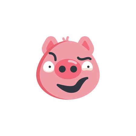 Piggy sly face emoticon flat icon, vector sign, colorful pictogram isolated on white. Sassy face emoji symbol, logo illustration. Flat style design