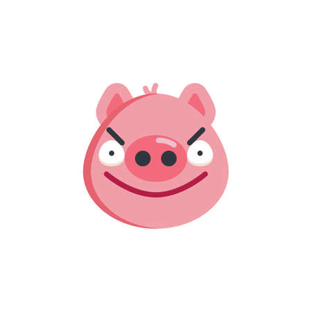 Angry face emoji flat icon, vector sign, colorful pictogram isolated on white. Piggy displeased face emoticon symbol, logo illustration. Flat style design
