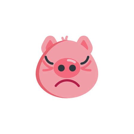 Piggy annoyed face emoticon flat icon, vector sign, colorful pictogram isolated on white. Piggy displeased face emoji symbol, logo illustration. Flat style design