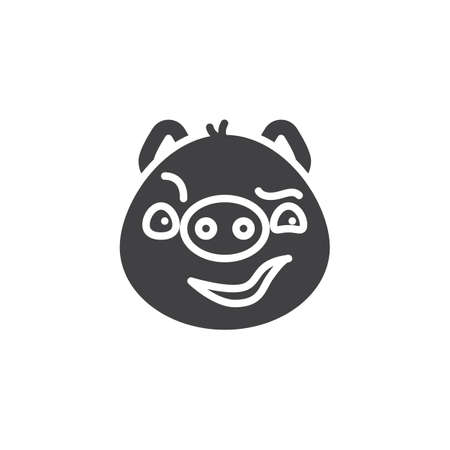 Piggy sly face emoticon vector icon. filled flat sign for mobile concept and web design. Sassy face emoji glyph icon. Pig year zodiac symbol, logo illustration. Pixel perfect vector graphics