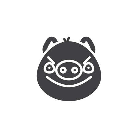Piggy displeased face emoticon vector icon. filled flat sign for mobile concept and web design. Angry face emoji glyph icon. Pig year zodiac symbol, logo illustration. Pixel perfect vector graphics