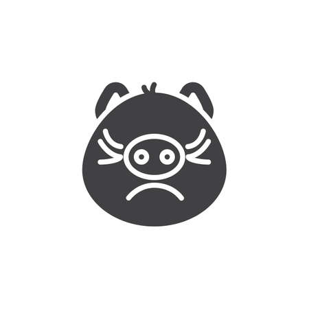 Piggy displeased face emoji vector icon. filled flat sign for mobile concept and web design. Annoyed face emoticon glyph icon. Pig year zodiac symbol, logo illustration. Pixel perfect vector graphics