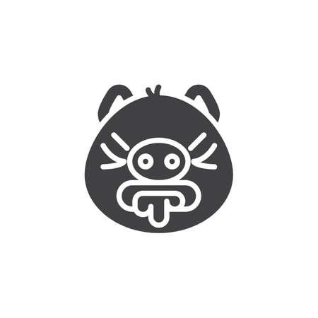 Braken emoji piggy gezicht vector pictogram. gevuld plat bord voor mobiel concept en webdesign. Misselijk piggy gezicht emoticon glyph pictogram. Varken jaar dierenriem symbool, logo afbeelding. Pixel perfect