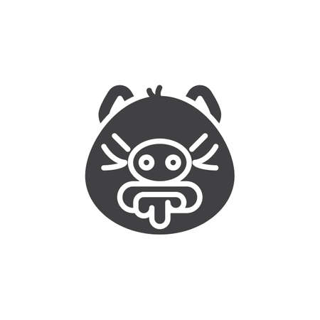Vomiting emoji piggy face vector icon. filled flat sign for mobile concept and web design. Nauseous piggy face emoticon glyph icon. Pig year zodiac symbol, logo illustration. Pixel perfect