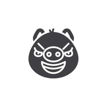 Sarcastic piggy face emoji vector icon. filled flat sign for mobile concept and web design. Mocked face emoticon glyph icon. Pig year zodiac symbol, logo illustration. Pixel perfect vector graphics Illustration