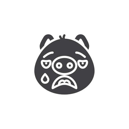 Crying piggy face emoticon vector icon. filled flat sign for mobile concept and web design. Cry face emoji glyph icon. Pig year zodiac symbol, logo illustration. Pixel perfect vector graphics