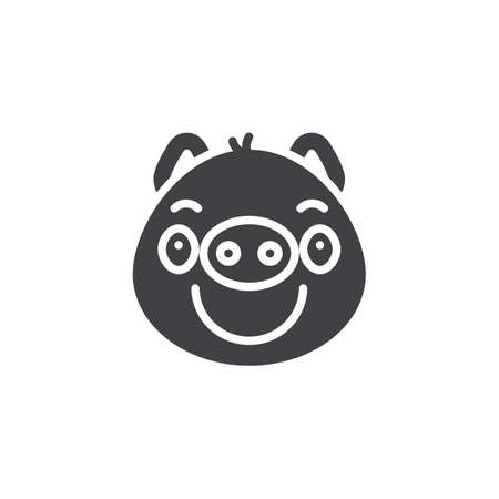 Piggy smug face emoticon vector icon. filled flat sign for mobile concept and web design. Sassy piggy face emoji glyph icon. Pig year zodiac symbol, logo illustration. Pixel perfect vector graphics