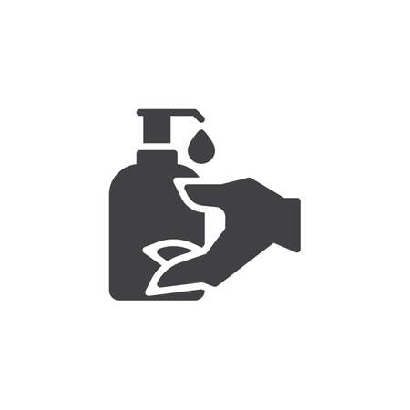 Hand sanitizer bottle vector icon. filled flat sign for mobile concept and web design. Disinfection hand glyph icon. Symbol, logo illustration. Pixel perfect vector graphics