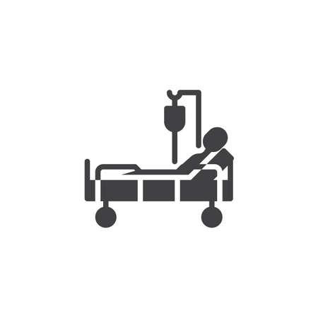 Cama de hospital con icono de vector de transfusión de sangre del paciente. signo plano lleno para concepto móvil y diseño web. Cama clínica con icono de glifo de persona hospitalizada. Símbolo, ilustración de logotipo.