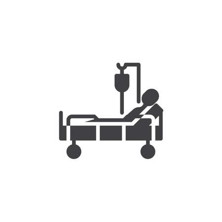 Hospital bed with patient blood transfusion vector icon. filled flat sign for mobile concept and web design. Clinical bed with person hospitalized glyph icon. Symbol, logo illustration. Stock Vector - 117326194