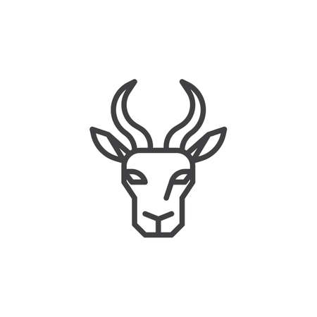 Antelope head line icon. linear style sign for mobile concept and web design. Ruminant outline vector icon. Wild animals symbol, logo illustration. Pixel perfect vector graphics