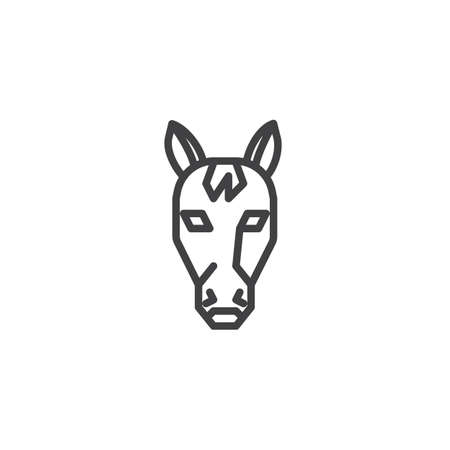 Horse head line icon. linear style sign for mobile concept and web design. Ruminant outline vector icon. Symbol, logo illustration. Pixel perfect vector graphics