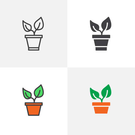 Plant and pot icon. Line, glyph and filled outline colorful version, Sprout outline and filled vector sign. Symbol, logo illustration. Different style icons set