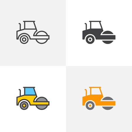 Icono de rodillo de camino. Línea, glifo y versión colorida de contorno lleno, contorno de maquinaria de construcción de camión aplanadora y signo de vector relleno. Símbolo, ilustración de logotipo. Conjunto de iconos de diferentes estilos Logos