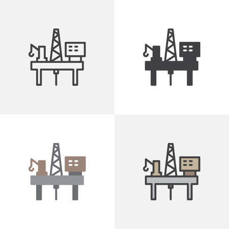 Oil platform icon. Line, glyph and filled outline colorful version, oil platform rig outline and filled vector sign. Symbol, logo illustration. Different style icons set