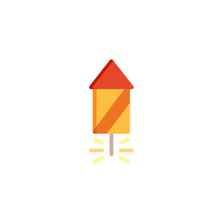 Fireworks Rocket flat icon, vector sign, colorful pictogram isolated on white. Party firecracker symbol, logo illustration. Flat style design