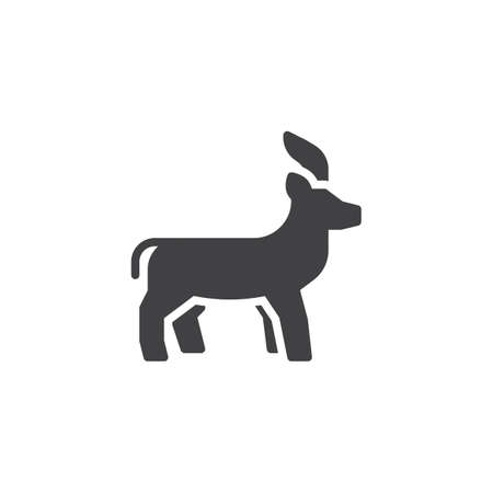 Antelope side view vector icon. filled flat sign for mobile concept and web design. Antelope standing glyph icon. Wild animal symbol, logo illustration. Pixel perfect vector graphics Illustration