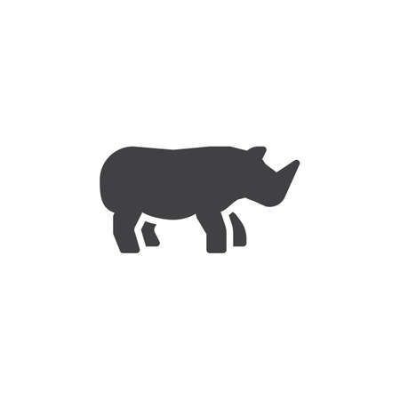 Rhino side view vector icon. filled flat sign for mobile concept and web design. Rhinoceros glyph icon. Wild animal symbol, logo illustration. Pixel perfect vector graphics
