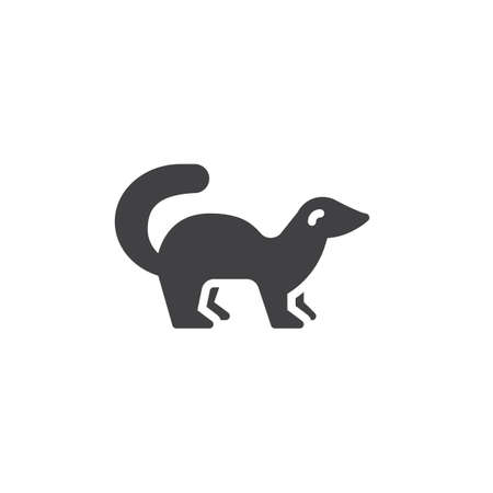Mink side view vector icon. filled flat sign for mobile concept and web design. marten standing glyph icon. Wild forest animal symbol, logo illustration. Pixel perfect vector graphics