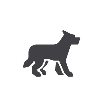 Wolf side view vector icon. filled flat sign for mobile concept and web design. wolf standing glyph icon. Wild animal symbol, logo illustration. Pixel perfect vector graphics