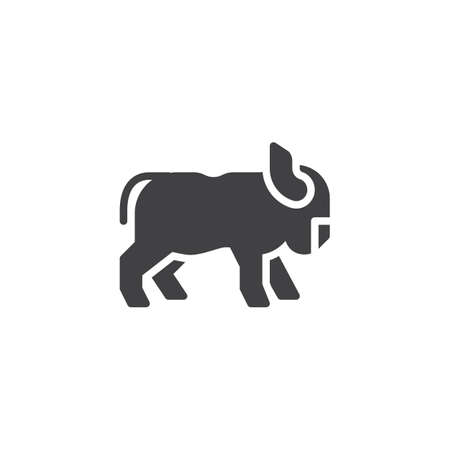 Horned ox side view vector icon. filled flat sign for mobile concept and web design. standing ox glyph icon. Farm animal symbol, logo illustration. Pixel perfect vector graphics