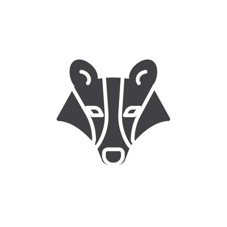Badger head vector icon. filled flat sign for mobile concept and web design. badger animal glyph icon. Wild animals symbol, logo illustration. Pixel perfect vector graphics