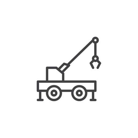 Mobile crane truck line icon. linear style sign for mobile concept and web design. Carry crane outline vector icon. Construction machine symbol, logo illustration. Pixel perfect vector graphics