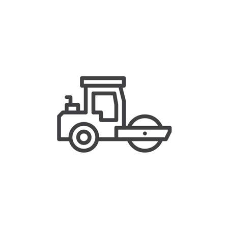 Road roller line icon. linear style sign for mobile concept and web design. Steamroller truck outline vector icon. Construction machine symbol, logo illustration. Pixel perfect vector graphics