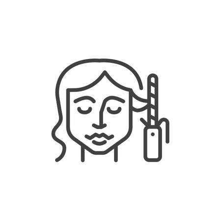 Hair curling line icon. linear style sign for mobile concept and web design. Woman styling her hair with curling iron outline vector icon. Symbol, logo illustration. Pixel perfect vector graphics Illustration