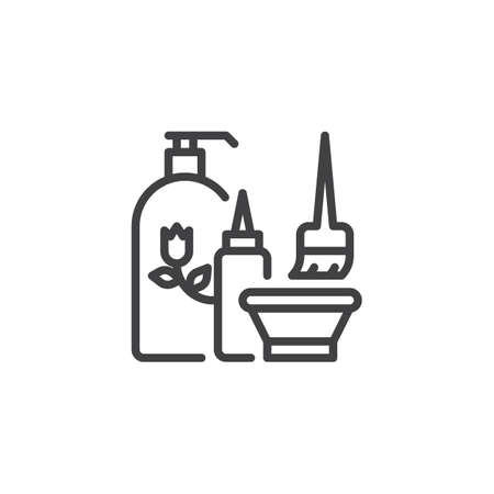 Cosmetics set line icon. linear style sign for mobile concept and web design. Cosmetic skin care cream packaging outline vector icon. Symbol, logo illustration. Pixel perfect vector graphics  イラスト・ベクター素材