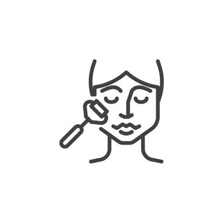 Face massage line icon. linear style sign for mobile concept and web design. Woman with facial jade roller outline vector icon. Facial beauty treatment symbol, logo illustration. Pixel perfect vector Illustration