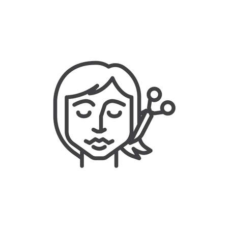 Cutting hair line icon. linear style sign for mobile concept and web design. Woman hair cut by hairdresser scissors outline vector icon. Symbol, logo illustration. Pixel perfect vector graphics