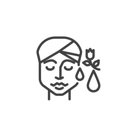Icona della linea idratante per la pelle. segno di stile lineare per il concetto mobile e il web design. Icona di vettore del profilo di procedura cosmetica a base di erbe. Simbolo, illustrazione del logo. Grafica vettoriale pixel perfetta Logo