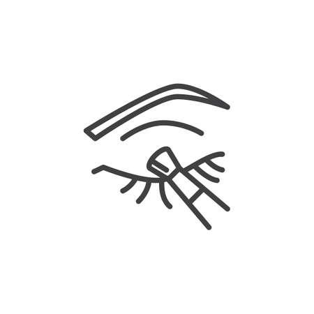 Icône de ligne de maquillage pour les yeux femme. signe de style linéaire pour le concept mobile et la conception Web. Oeil avec l'icône de vecteur de contour de brosse d'eye-liner. Symbole, illustration du logo. Pixel graphiques vectoriels parfaits