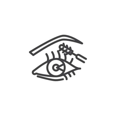 Eye make up line icon. linear style sign for mobile concept and web design. Woman eye and mascara with brush outline vector icon. Symbol, logo illustration. Pixel perfect vector graphics 스톡 콘텐츠 - 117783117