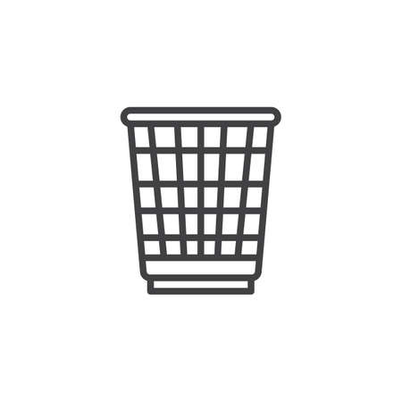 Paper trash basket line icon. linear style sign for mobile concept and web design. Recycle bin outline vector icon. Symbol, logo illustration. Pixel perfect vector graphics